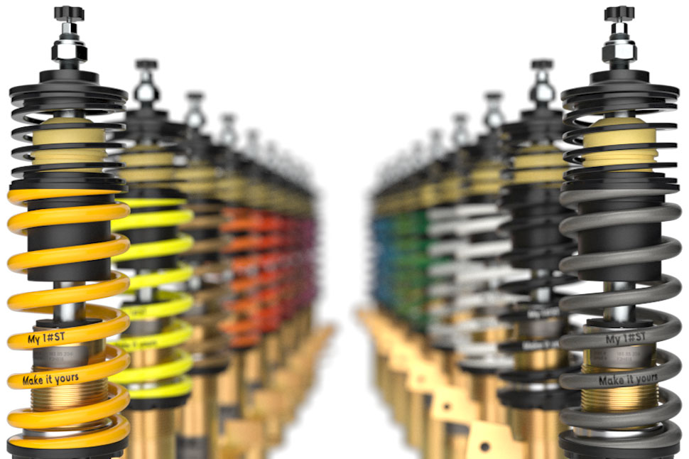Just click on the customization button on our homepage and you can have your ST suspension springs coated in one of 18 different RAL colors.