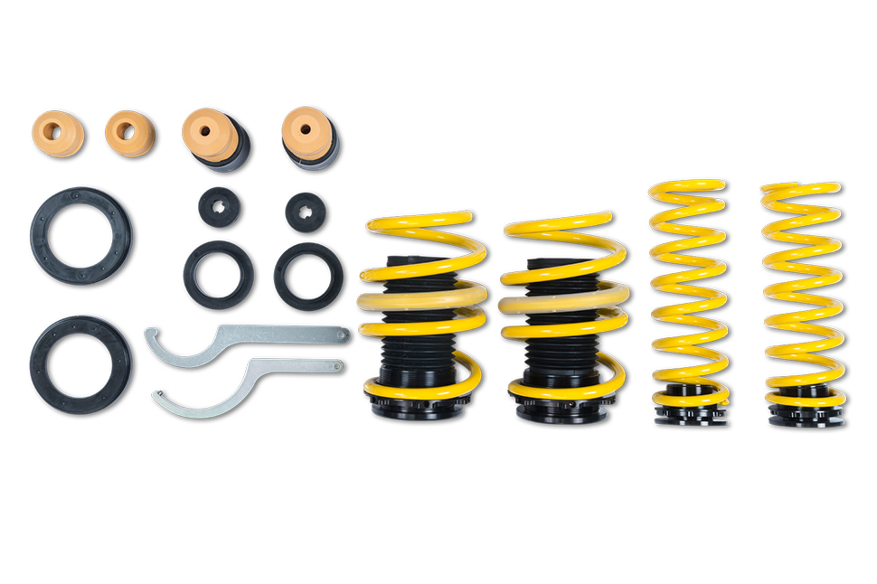 Scope of delivery: ST height adjustable springs with elastomer springs and dust protection elements for all Hyundai i30 N, N Performance and Fastback.