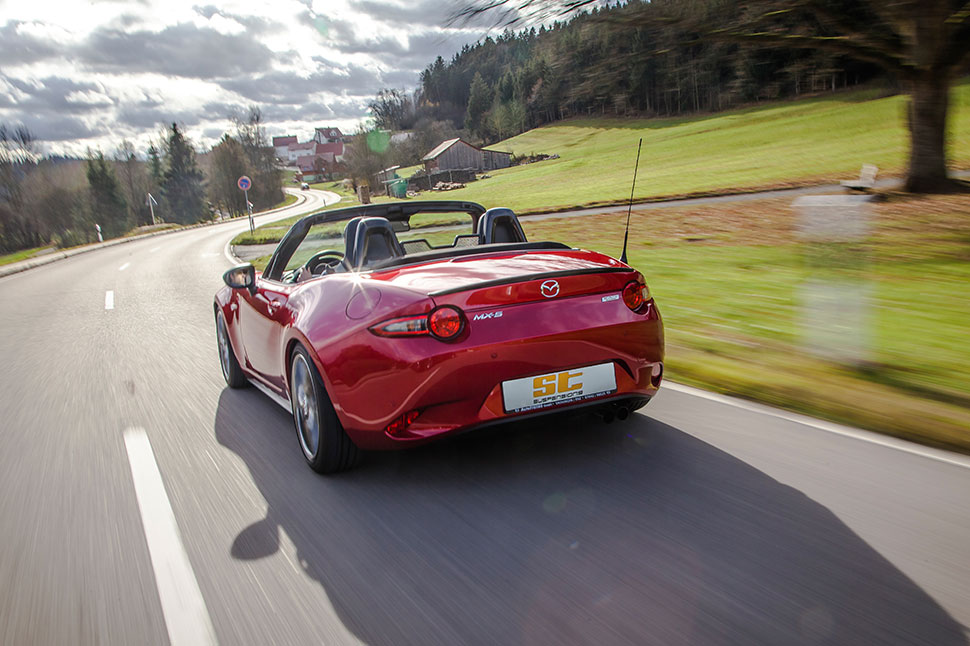 The sporty handling in the MX-5 is enhanced by the installation of the two ST coilovers.