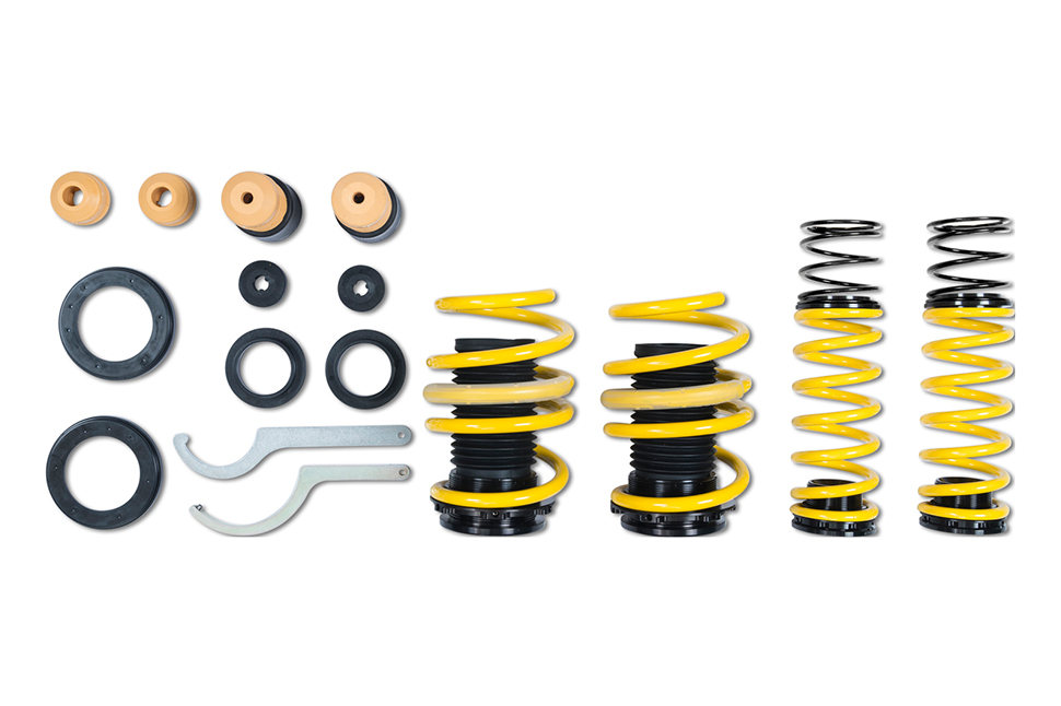 With their adjustable spring perches, these height-adjustable springs are mounted on the standard dampers and thus enable a continuously adjustable lowering range.